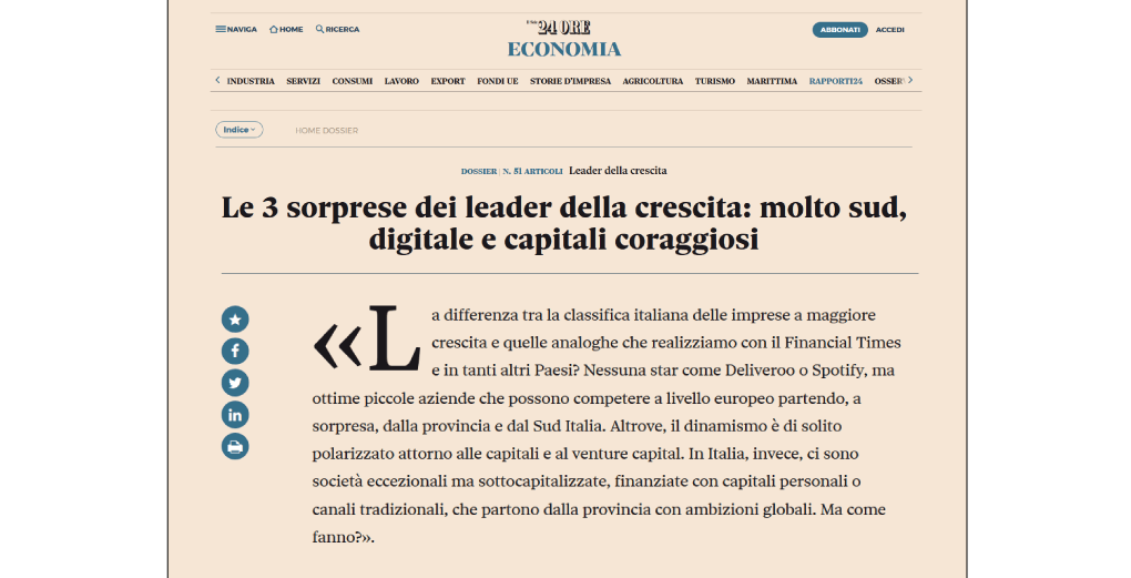 Sadas Leader crescita in settore Tecnologia e Sviluppo software per la business intelligence