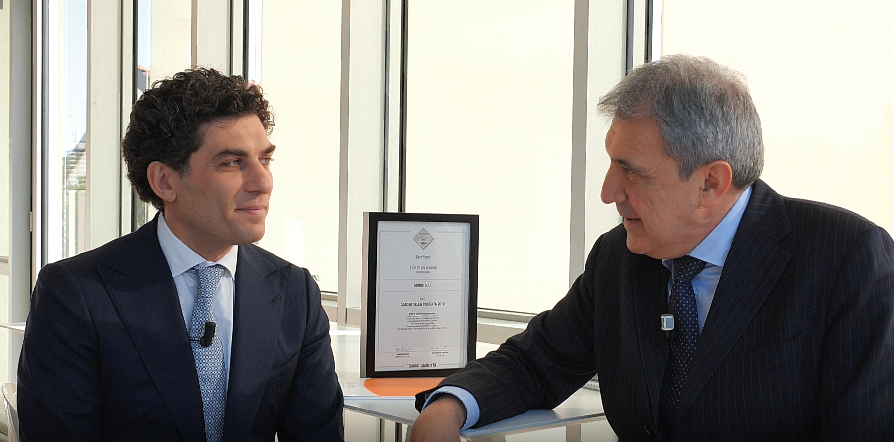 Roberto Goglia, Sadas s.r.l. e Franco Giacotti, Dedalo s.r.l. durante l'intervista per Lease 2019